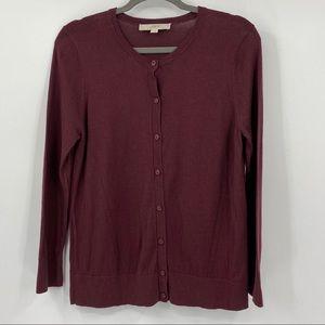 Ann Taylor Loft burgundy cardigan sweater